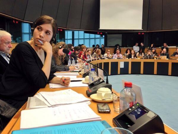 Nadezhda Tolokonnikova at the European Parliament 31 March 2014.
