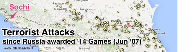 Map of all terrorist attacks near Sochi since Russia awarded Winter Olympics (Jun '07) - Imgur